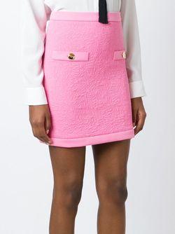Мини-Юбка С Простроченными Логотипами Moschino                                                                                                              розовый цвет