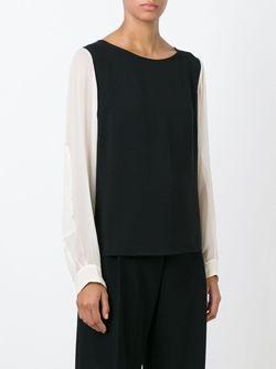 Блузка С Контрастными Рукавами ERIKA CAVALLINI SEMICOUTURE                                                                                                              черный цвет