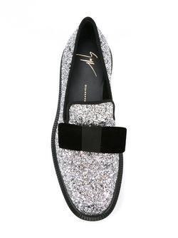 Лоферы С Блестками И Бантом Giuseppe Zanotti Design                                                                                                              серый цвет