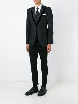 Жаккардовый Пиджак С Бархатной Окантовкой Dolce & Gabbana                                                                                                              черный цвет