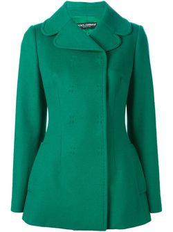 Двубортное Полупальто Dolce & Gabbana                                                                                                              зелёный цвет