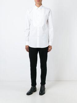 Рубашка С Нагрудником Saint Laurent                                                                                                              белый цвет