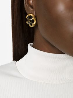 Logo Clip-On Earrings Chanel Vintage                                                                                                              чёрный цвет