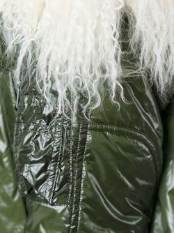 Lamb Fur Trim Padded Coat Sacai Luck                                                                                                              зелёный цвет