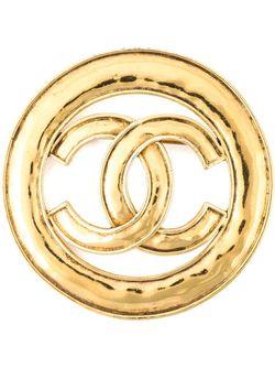Брошь С Логотипом Chanel Vintage                                                                                                              серебристый цвет