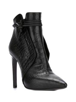 Crocodile Texture Stiletto Booties A.F.Vandevorst                                                                                                              чёрный цвет