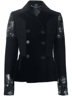 Двубортный Пиджак С Рисунком Цветков Гибискуса Alexander McQueen                                                                                                              чёрный цвет