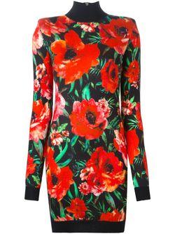 Платье С Цветочным Принтом Balmain                                                                                                              многоцветный цвет