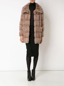 Panelled High Collar Coat Yves Salomon                                                                                                              Nude & Neutrals цвет