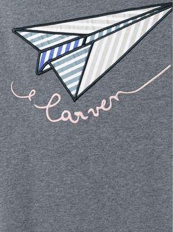 Футболка С Вышивкой Бумажного Самолета Carven                                                                                                              серый цвет