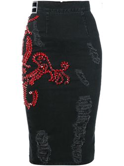 Embellished Pencil Denim Skirt Marco Bologna                                                                                                              чёрный цвет