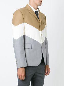 Дутый Блейзер Колор-Блок Moncler Gamme Bleu                                                                                                              коричневый цвет
