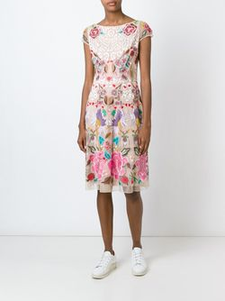 Flower Embroidered Shortsleeved Dress Temperley London                                                                                                              Nude & Neutrals цвет
