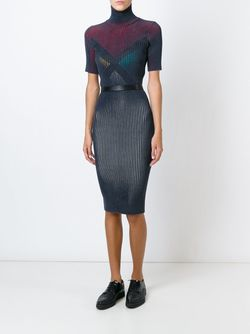 Ribbed Color Block Fitted Dress Marco De Vincenzo                                                                                                              синий цвет