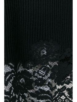 Свитер Ребристой Вязки С Кружевным Подолом Ermanno Scervino                                                                                                              черный цвет
