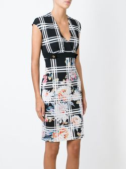Floral Checked Fitted Dress Roberto Cavalli                                                                                                              черный цвет