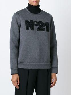 Толстовка С Принтом Логотипа No21                                                                                                              серый цвет
