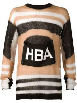 Полосатый Свитер С Нашивкой-Логотипом HOOD BY AIR                                                                                                              черный цвет