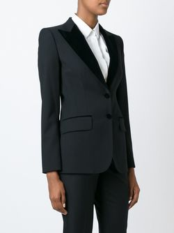 Velvet Peaked Lapel Suit Jacket Dolce & Gabbana                                                                                                              черный цвет