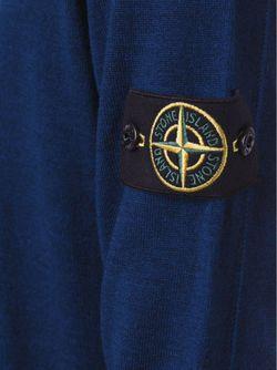 Свитер С V-Образным Вырезом Stone Island                                                                                                              синий цвет