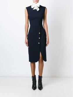 Приталенное Платье С Отделкой Из Пуговиц Ermanno Scervino                                                                                                              синий цвет