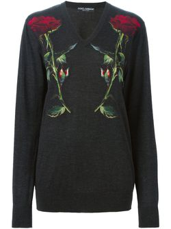 Rose Appliqué Sweater Dolce & Gabbana                                                                                                              серый цвет