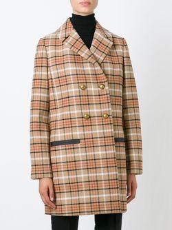 Двубортное Пальто В Клетку Tory Burch                                                                                                              Nude & Neutrals цвет