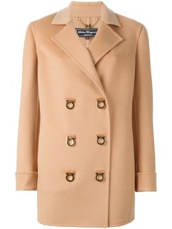 Двубортное Пальто Salvatore Ferragamo                                                                                                              Nude & Neutrals цвет