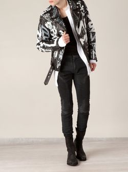 Graffiti Print Biker Jacket Faith Connexion                                                                                                              чёрный цвет