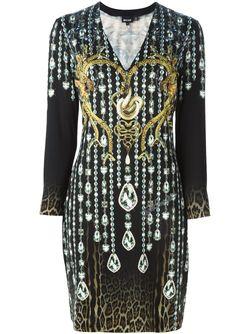 Crystal And Snakes Print Dress Just Cavalli                                                                                                              чёрный цвет