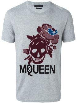 Hibiscus Skull T-Shirt Alexander McQueen                                                                                                              серый цвет