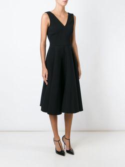 Раслкшенное Платье C V-Образным Вырезом Dolce & Gabbana                                                                                                              черный цвет