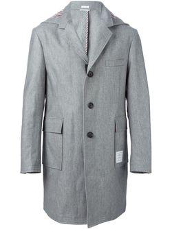 Однобортное Пальто С Капюшоном Thom Browne                                                                                                              чёрный цвет