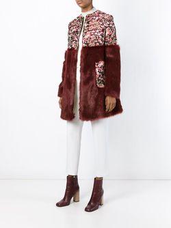 Парчовое Пальто С Меховой Панелью GIAMBA                                                                                                              красный цвет