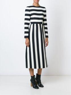 Striped Midi Dress Valentino                                                                                                              чёрный цвет