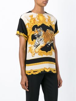 Baroque Tiger Print Top Versace                                                                                                              чёрный цвет