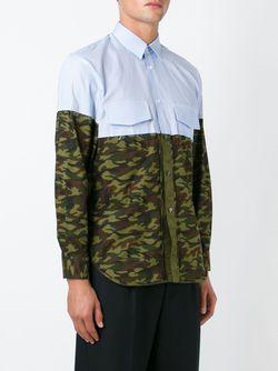 Полосатая Рубашка С Камуфляжным Принтом Comme Des Garcons                                                                                                              синий цвет