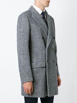 Двубортное Пальто В Елочку Eleventy                                                                                                              серый цвет