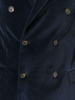 Бархатный Двубортный Пиджак Eleventy                                                                                                              синий цвет