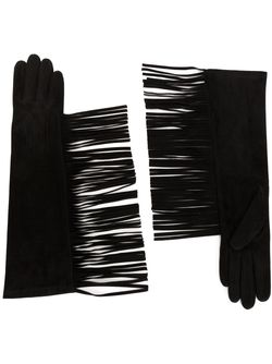 Fringed Long Gloves Lanvin                                                                                                              чёрный цвет