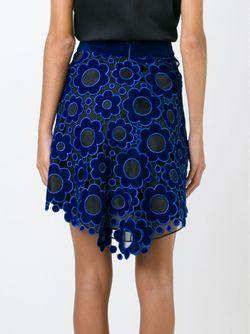 Многослойная Юбка Из Цветочного Кружева Макраме Christopher Kane                                                                                                              синий цвет
