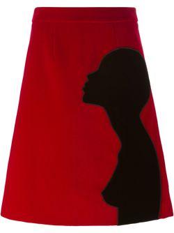 Юбка С Деталью В Виде Силуэта Christopher Kane                                                                                                              красный цвет