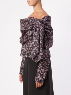 Floral Drop Shoulder Blouse Rosie Assoulin                                                                                                              черный цвет