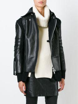 Байкерская Куртка С Трикотажным Воротником Sacai                                                                                                              чёрный цвет
