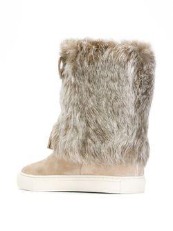 Fur Trimmed Boots Tory Burch                                                                                                              Nude & Neutrals цвет