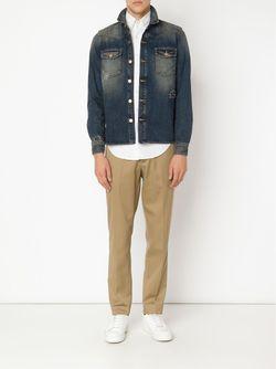 Выбеленная Джинсовая Куртка OFF-WHITE                                                                                                              синий цвет