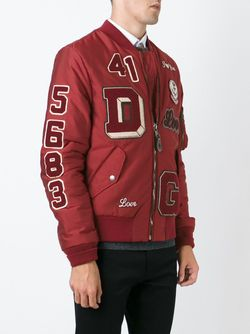 Куртка-Бомбер С Нашивками Dolce & Gabbana                                                                                                              красный цвет