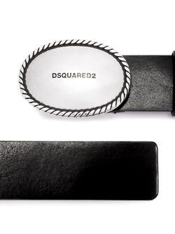Ремень С Овальной Пряжкой И Тисненым Логотипом Dsquared2                                                                                                              чёрный цвет