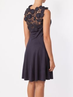 Appliqué Lace Panel Dress Oscar de la Renta                                                                                                              синий цвет