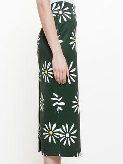 Юбка-Карандаш С Принтом Ромашек Natasha Zinko                                                                                                              зелёный цвет